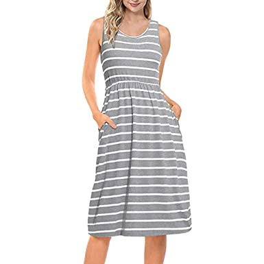 579266e60816 feiXIANG Damen Mode Kleid Stripe Short Ärmel Shirtkleid gestreiften T-Shirt  Kleid V-Ausschnitt lockeres Kleid Freizeit Hemdkleid Ladies Casual Mini  Kleider  ...