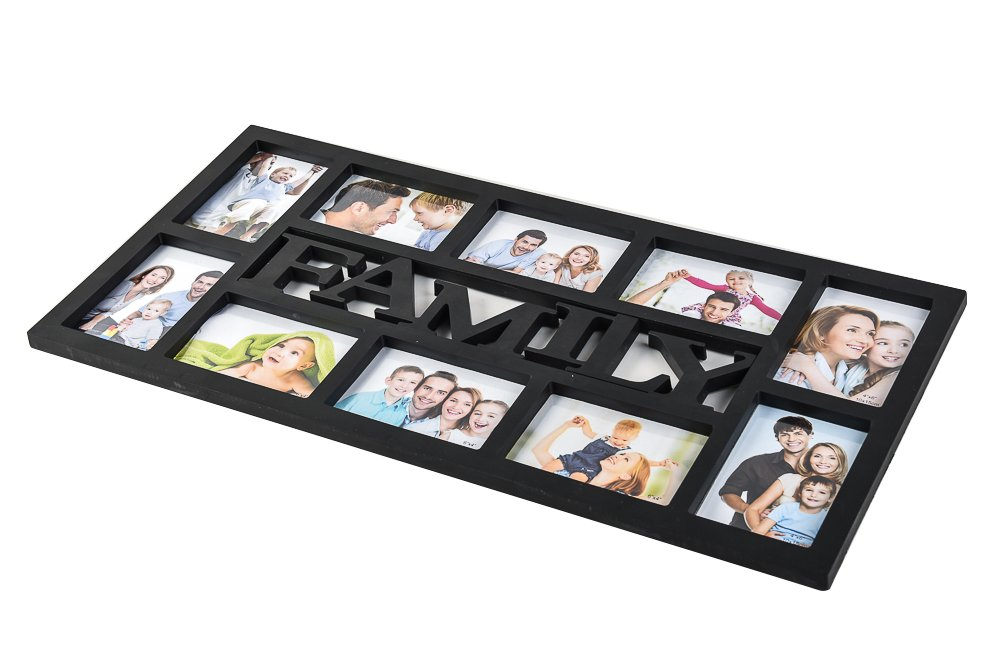 Arpan ''Family'' Multi Aperture Photo Picture Frame - Holds 10 X 6''X4'' Photos (Black Family)