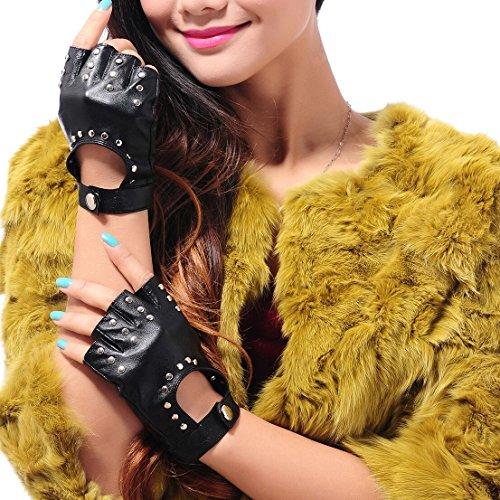 受け皿暖かさ表示May & Mayaレディースナッパ革半指指なしバイクフィットネス手袋