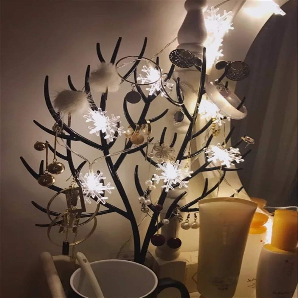 Ouniman Snowflake String Lights 50 LED Fairy Lights Battery Operated Waterproof for Wedding Easter Xmas Garden Bedroom Party Decor Indoor Outdoor Celebration Lighting - White