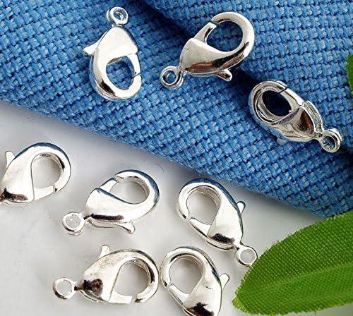 Ecloud Shop/® 50 Plated Silver Lobster Clasp Claw Buckle Gancho Collar de la joyer/ía Accesorios del conectador de la Pulsera Hebillas para DIY