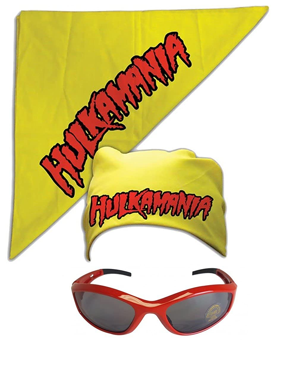 Hulk Hogan Hulkamania Bandana Sunglasses Costume -Yellow-Red