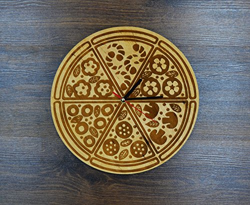 Pizza Slices Design Real Wood Wall Clock - Eco Friendly Natural Home Room Wall Decor - Creative Gift Idea for Men and Women