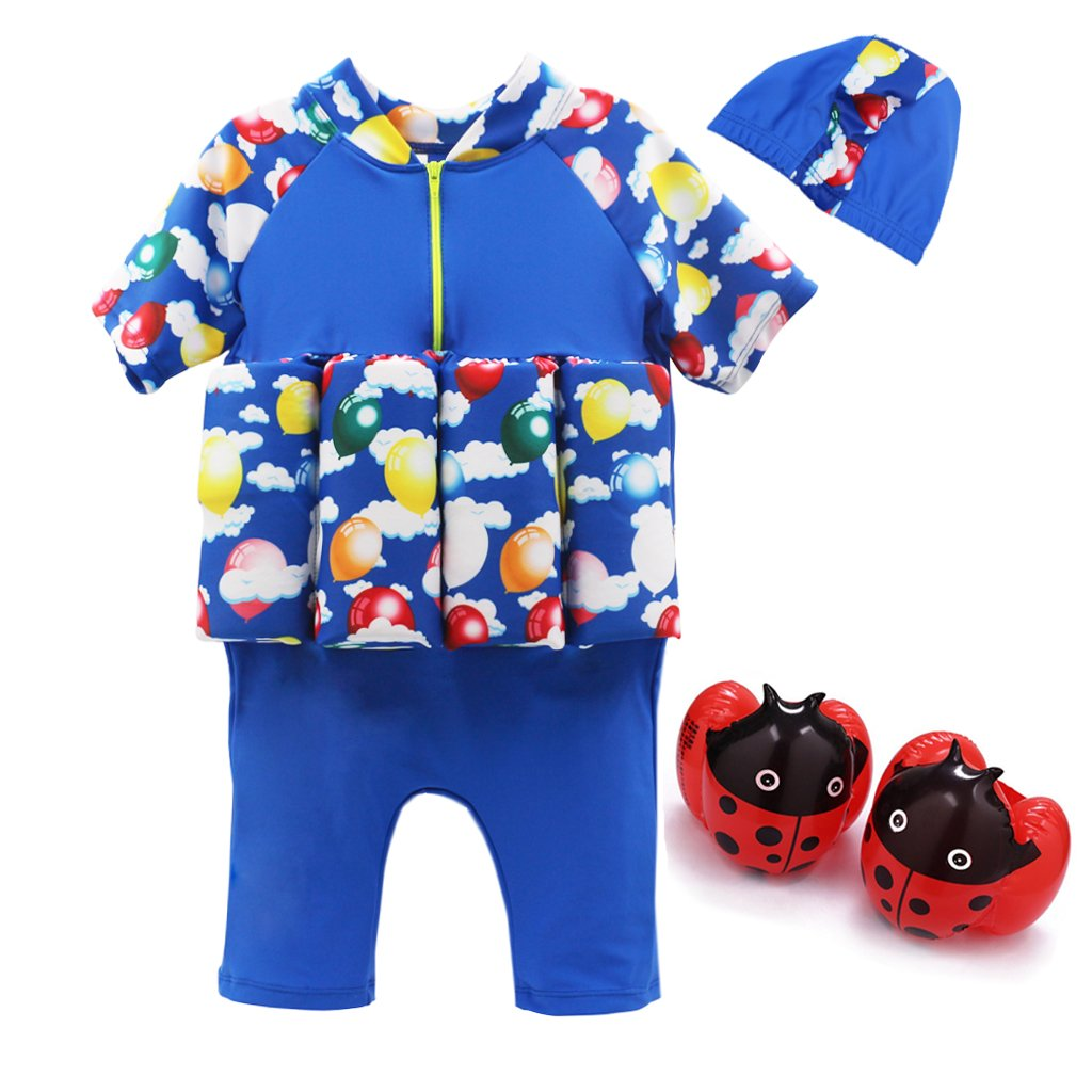 Kid's Swimsuit Sun Protection Flotation Swimwear with Swimming Cap and Armband