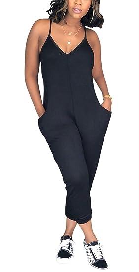 9dec2e99eb6 Amazon.com  Womens Sexy V Neck Spaghetti Strap One Piece Harem Jumpsuit  Romper Pockets  Clothing