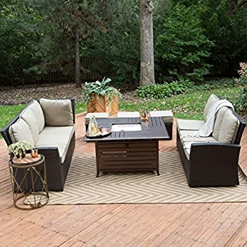 5 Piece All Weather Outdoor Wicker Patio Furniture Set With Gas Fire Pit
