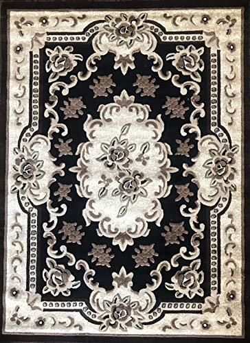 emirates Traditional Aubusson Persian Area Rug Black Green & Beige Design 507 (5 Feet 3 Inch X 7 Feet 2 Inch)