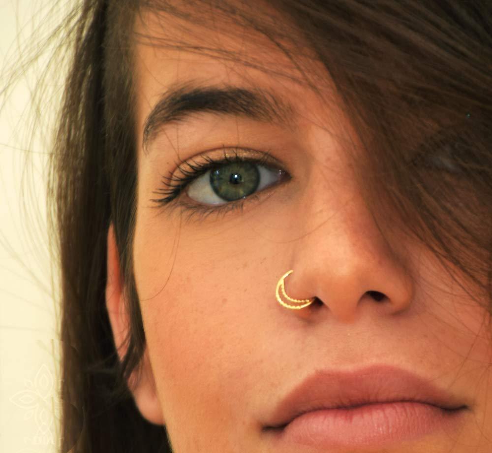 Amazon Com Nose Ring Hoop Crescent 14k Gold Handmade Nostril