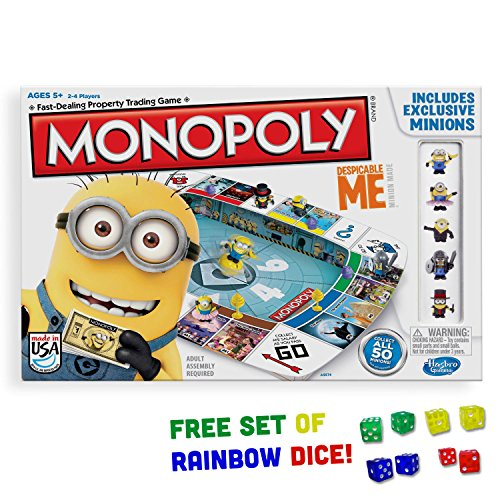 Banana Board Tray - Despicable Me Monopoly Board Game with Free Pack of Rainbow Dice