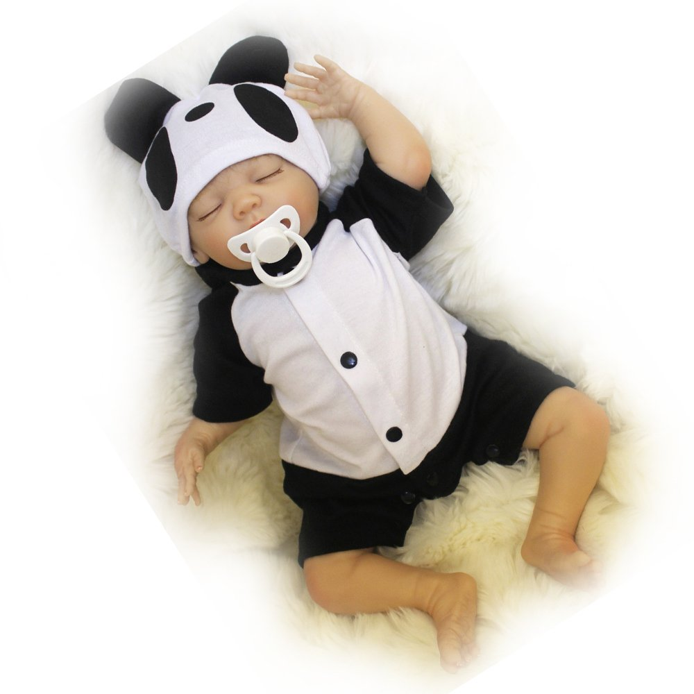 Tianara Reborn Baby Silicone Doll Gifts 18 Inch Realistic Real Like Newborn Black and White Outfit with Panda Hat