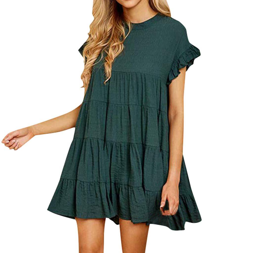 HODOD Summer Womens Ladies Plaid Printing O-Neck Short Sleeve Mini Dress,Teen Girls Cute Short Dress