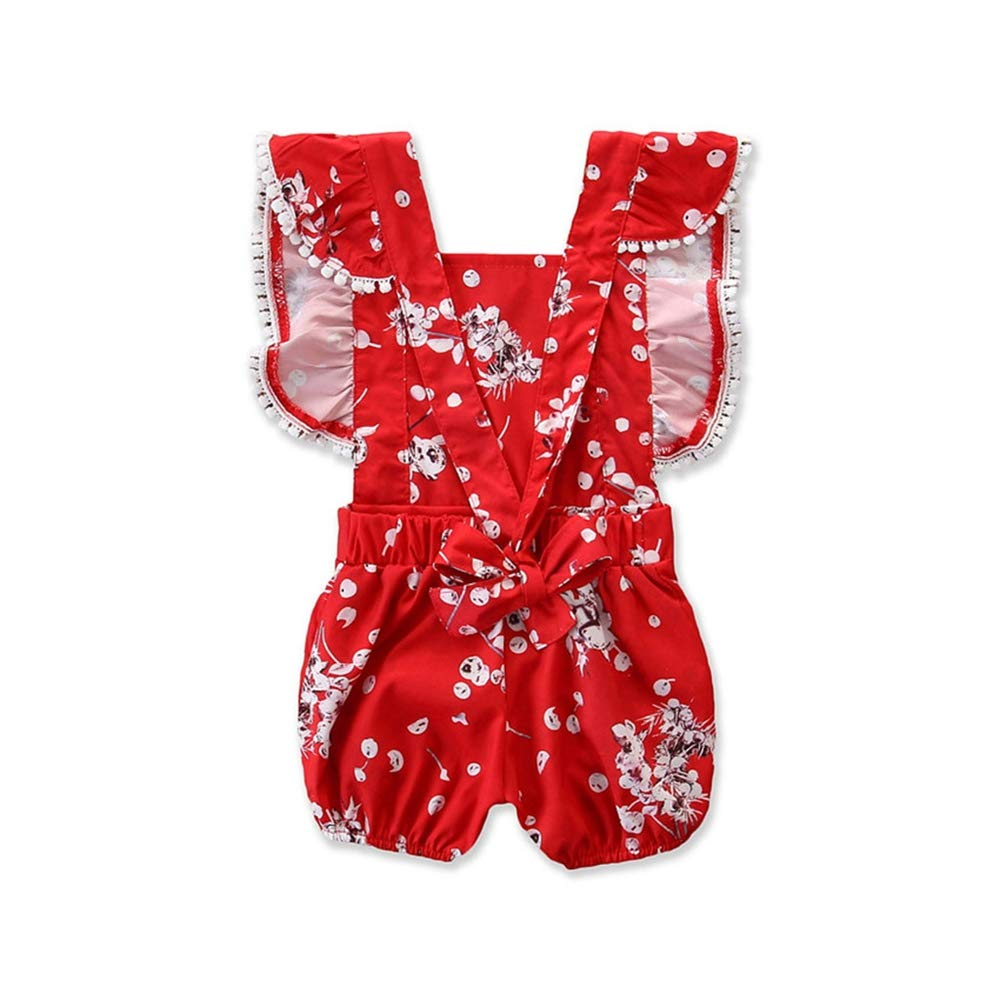 Hot New! Floral Baby Jumpsuits,Infant Kids Girl Summer Outfit Cute Fly Sleeve Flower Printing Romper Playsuit Red