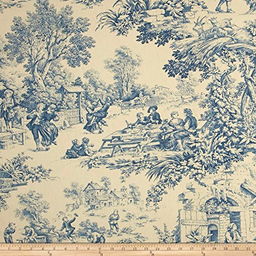 Stof Fabrics of France Festin Fabric, Bleu