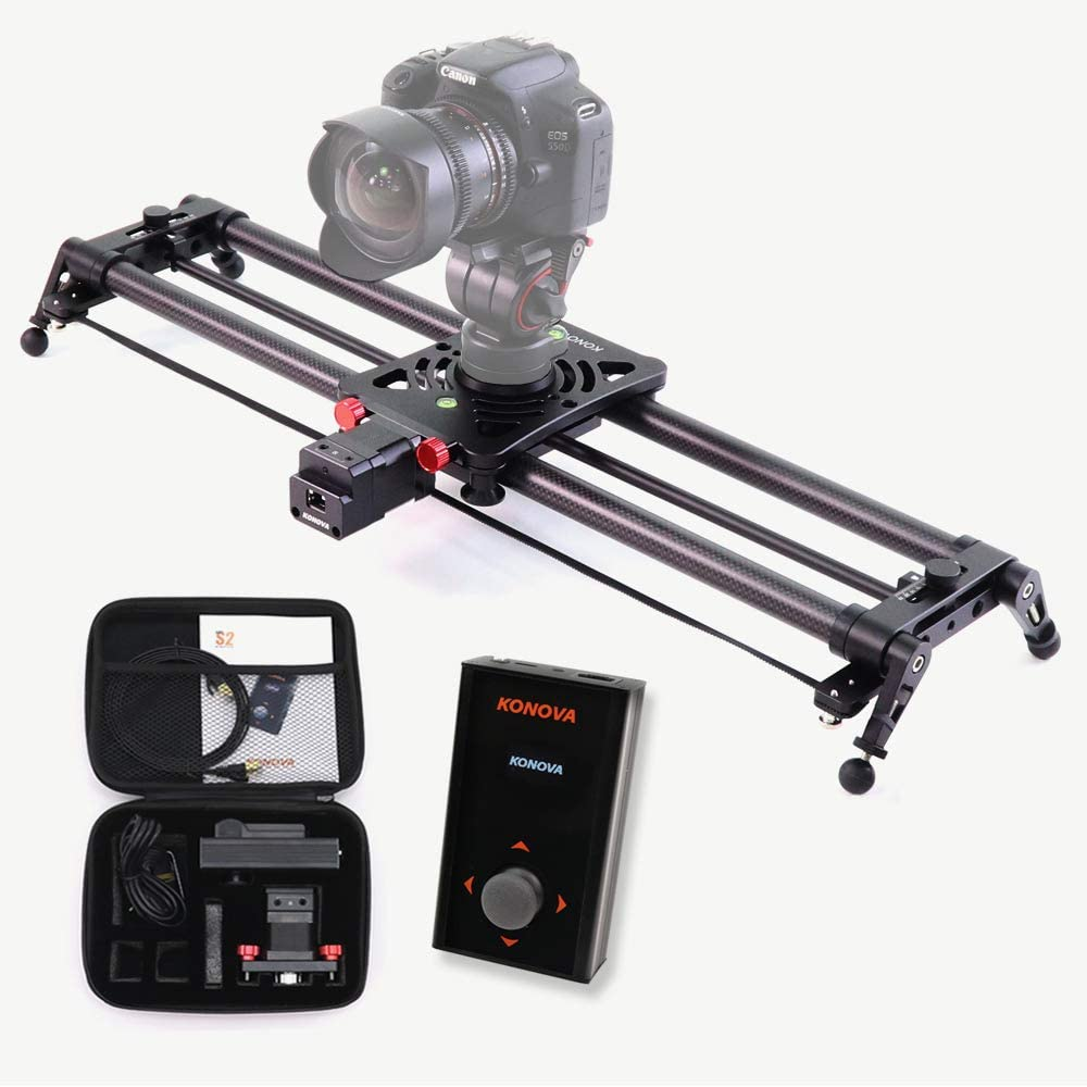 KONOVA Motorized Slider P1 Series Carbon Slider Dolly with S2 for Parallax Panorama Shot and Supports Camera, Gopro, Mobile Phone, DSLR, Mirrorless with Bag (80cm (31.5 inch))