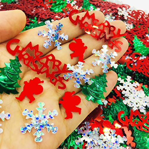 FunPartyArt Christmas Confeti Holly Jolly SprinklesTable Decorations for Xmas Holiday Party or DIY(1.5 OZ Red Green White) (Decorations Card Christmas)