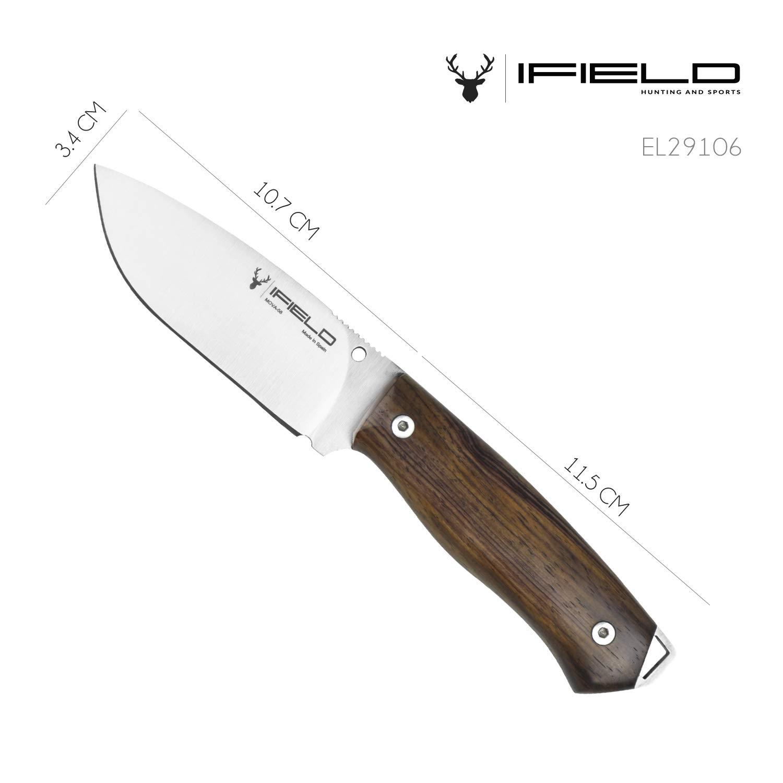 Cuchillo de caza iFIELD Workout Cuchillo de Supervivencia outdoor deportivo. Hoja de 10,5 cm. Longitud Total 22 cm. Incluye funda de piel. Herramienta ...