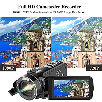 Video Camera Camcorder AiTechny HD 1080P 24.0MP Digital Camera YouTube Vlogging Camera 3.0 inch LCD 270 Degrees Rotatable Screen 16X Digital Zoom Camera Recorder 2 Batteries (301S-Plus)