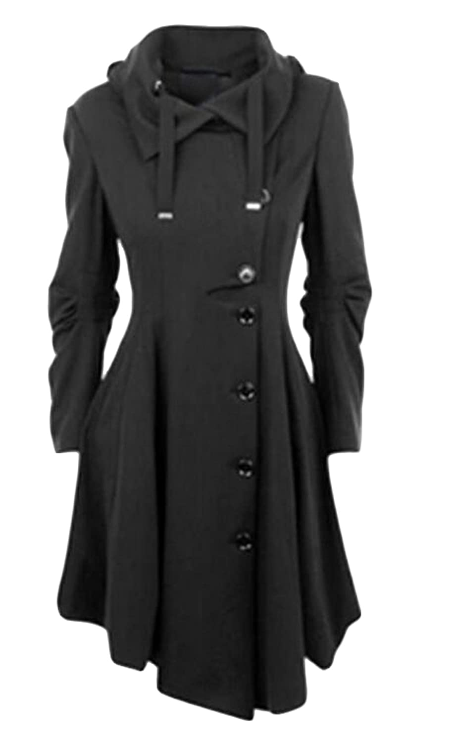 XQS Womens Simple Style Single Breasted Long Trench Jackets Coat