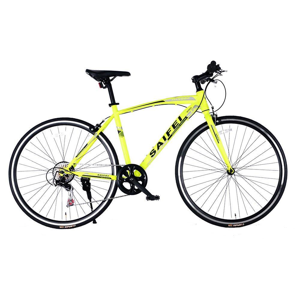 クロスバイク 700*23C SD-02自転車 7段変速 初心者 街乗り フラットハンドル 男女兼用 通勤通学 軽量 B076J6Q3V3 グリーン グリーン