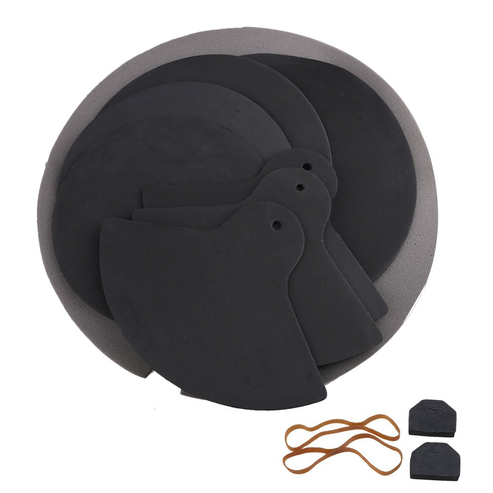 BQLZR Black Rubber Foam High Flexibility Elasticity Jazz Drum Practice Mutes Silencers Dampeners Pads M4170519014