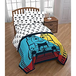 D.I.D. 4 Piece Kids White Yellow Blue Thomas the Tank Engine Comforter Twin Set, Locomotive Train Bedding Tracks Number 1, Reversible Stripes Pattern Polyester