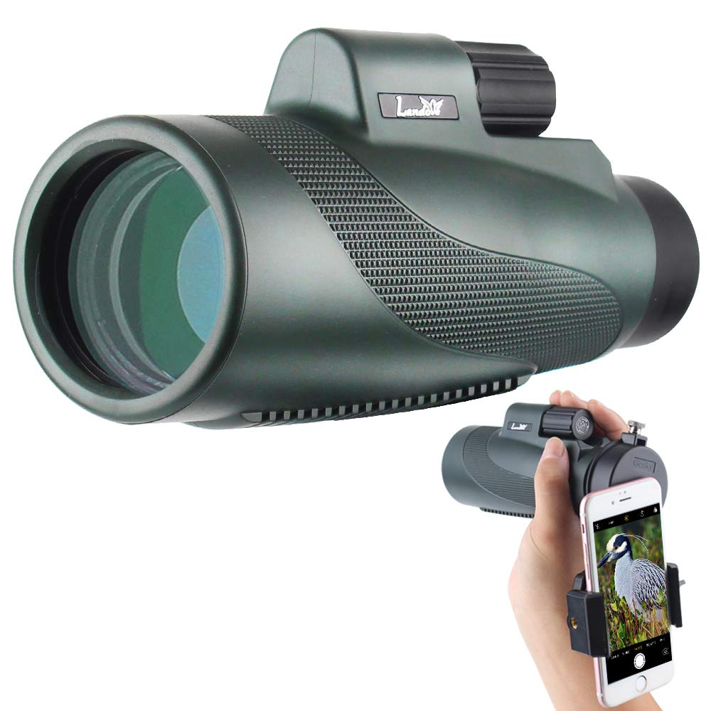 Landove 12X50 High Power Monocular-BAK4 Prism Single Hand Focus and Waterproof Fog-Proof Scope with Quick Set Phone Holder-for Hunting Bird Watching Camping Hiding and Other Outdoors Activities