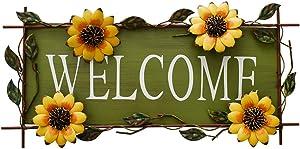 Vintage Sunflower Decor Welcome Sign for Front Door, Garden Themed Welcome Door Sign Hanging Metal Welcome Wall Plaque Home Garden Decor