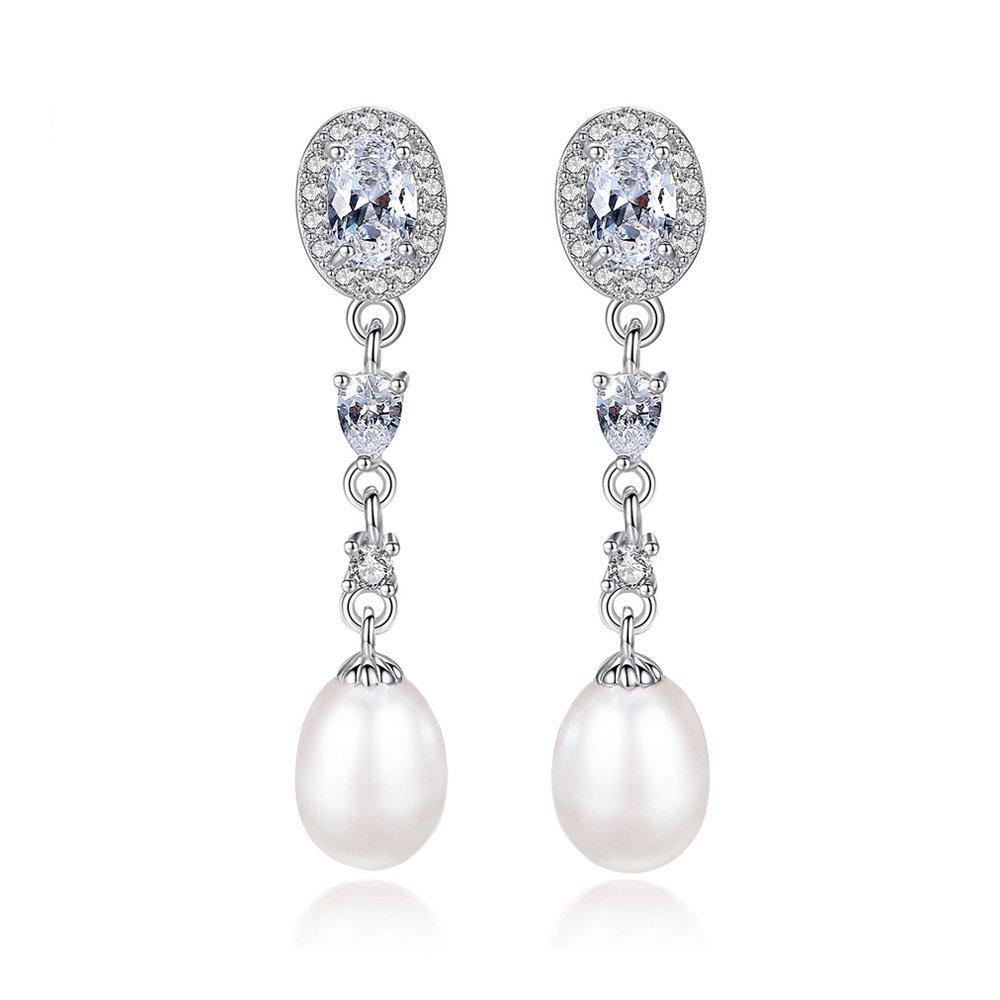KEETEEN 925 Sterling Silver Crystal 8-9mm Freshwater Pearl Teardrop Dangle Bridal Earrings Betrothal Jewels (White)