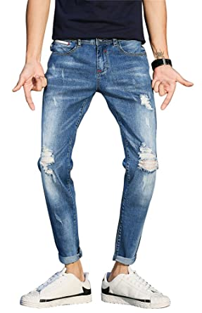 3a2ee2ac6c1b Plaid Plain Men s Cropped Jeans Knee Ripped Jeans Men s Distressed Skinny  Jeans ...