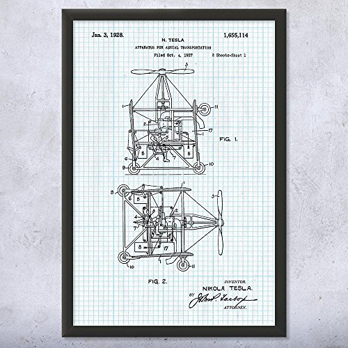 - Framed Tesla Aerial Transportation Apparatus Print, Tesla Inventions, Aviation, Pilot Gift, Mechanical Engineer Graph Paper (9
