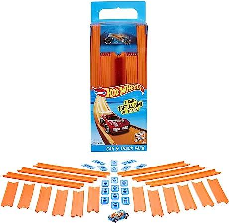 Hot Wheels Track Builder, tramos de pista con vehículo incluido, accesorios para pistas de coches de juguete (Mattel...