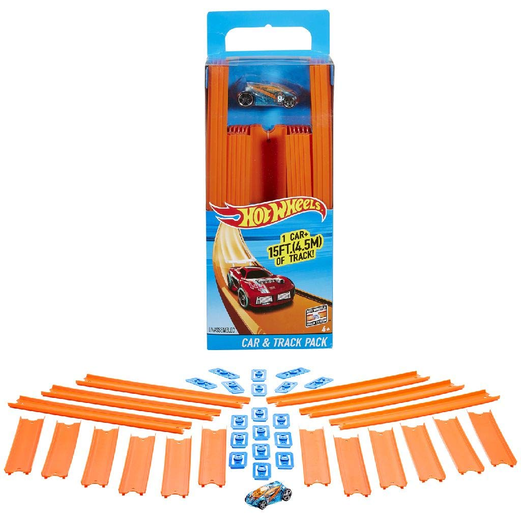 Hot Wheels Track Builder Straight Track with Car, 15 Feet - Styles May Vary, Orange and Blue (BHT77)