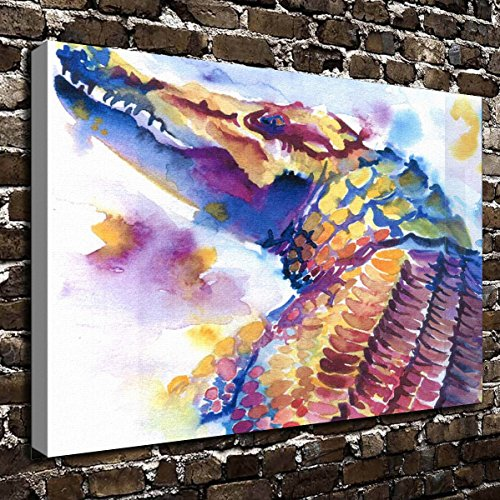 Alligator Canvas - COLORSFORU Wall Art Painting American Alligator Prints On Canvas The Picture Landscape Pictures Oil For Home Modern Decoration Print Decor For Living Room