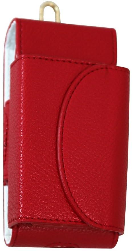 IQOS ケース アイコス カバー PUレザー 2.4 plus 対応 本体 ヒートスティック まとめて 収納 赤 レッド ベルトポーチ 極  T77,RD