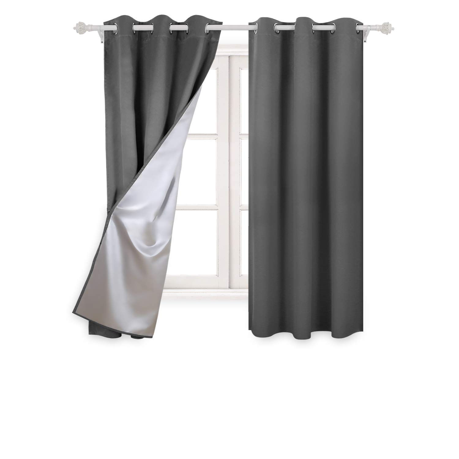 Deconovo Curtains with Silver Coating Beige Blackout Curtains Short Window Curtains for Small Windows 38W by 45L Inch Beige 2 Panels