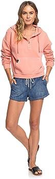 Roxy Womens Girls Who Slide Half-Snap Hoodie Erjft04186