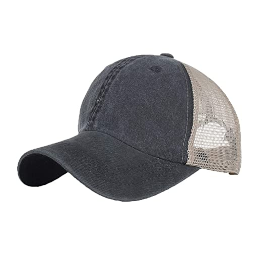 24027545db27c0 Amazon.com: Unisex Cotton Washed Baseball Cap Summer Breathable Hat Outdoor  Sun Protection Sport Hats Casual Hip Hop Trucker Dad Cap (Black): Clothing