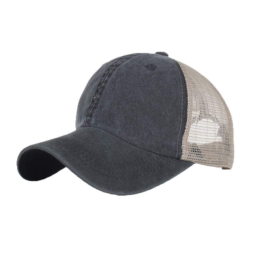 Outdoor Sport Hats Unisex Summer Baseball Cap Washed Cotton Hat Casual Cap Black