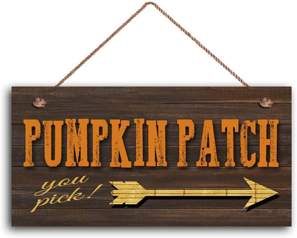 "MAIYUAN Pumpkin Patch Sign, Fall Season Decor, Autumn Season Sign, Tribal Arrow, Rustic Distressed Style, 5"" x 10"" Sign(35W9210)"