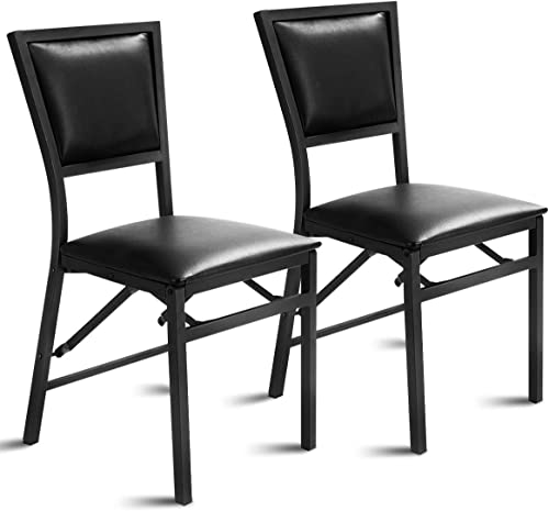 Giantex Set of 2 Metal Folding Chair Dining Chairs Home Restaurant Furniture Portable 18″ X 20″ X 33.5″