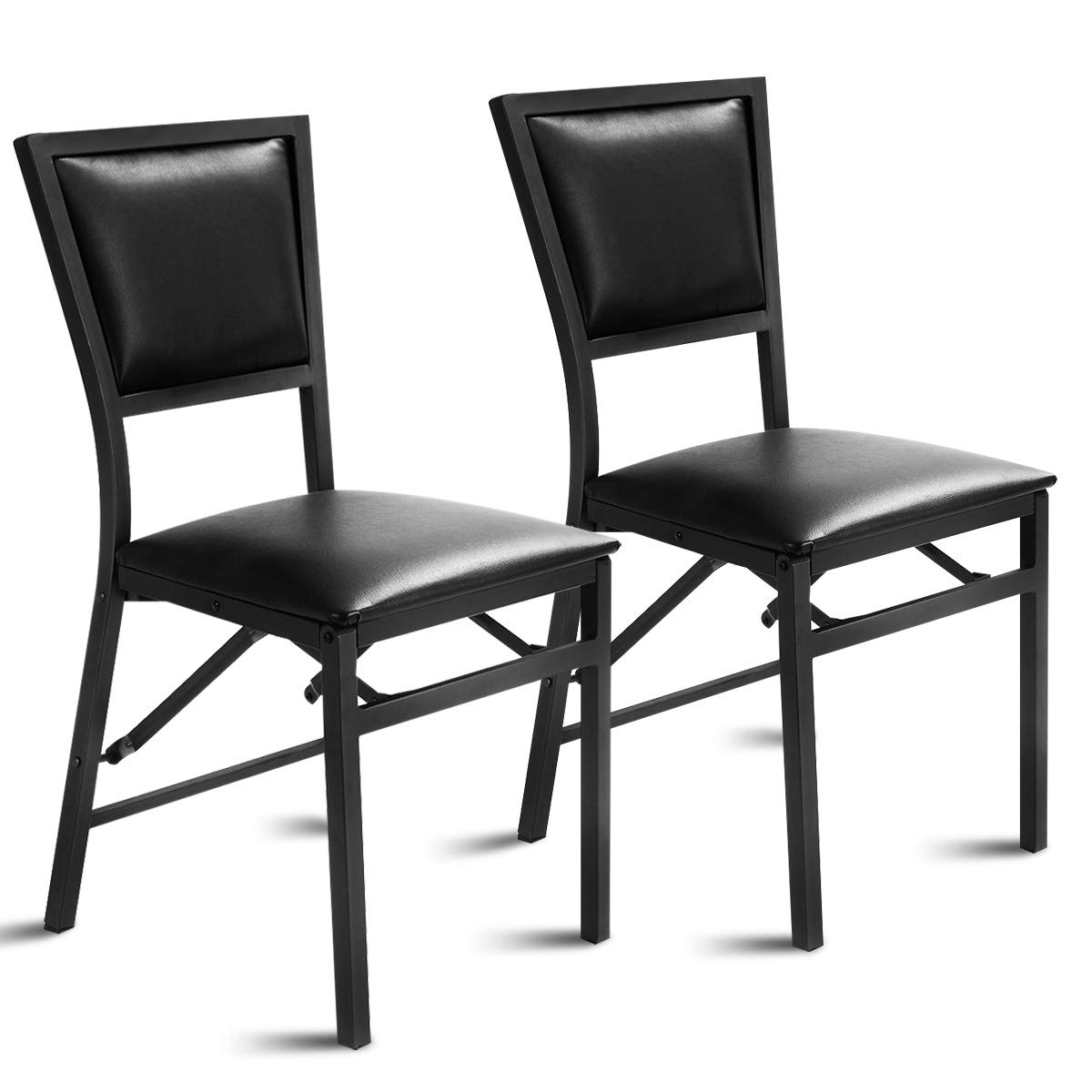 Giantex Set of 2 Metal Folding Chair Dining Chairs Home Restaurant Furniture Portable 18 X 20 X 33.5