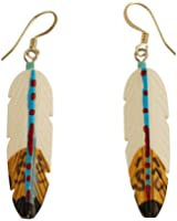 Silver Plated Hand Painted Bone Feather Earrings