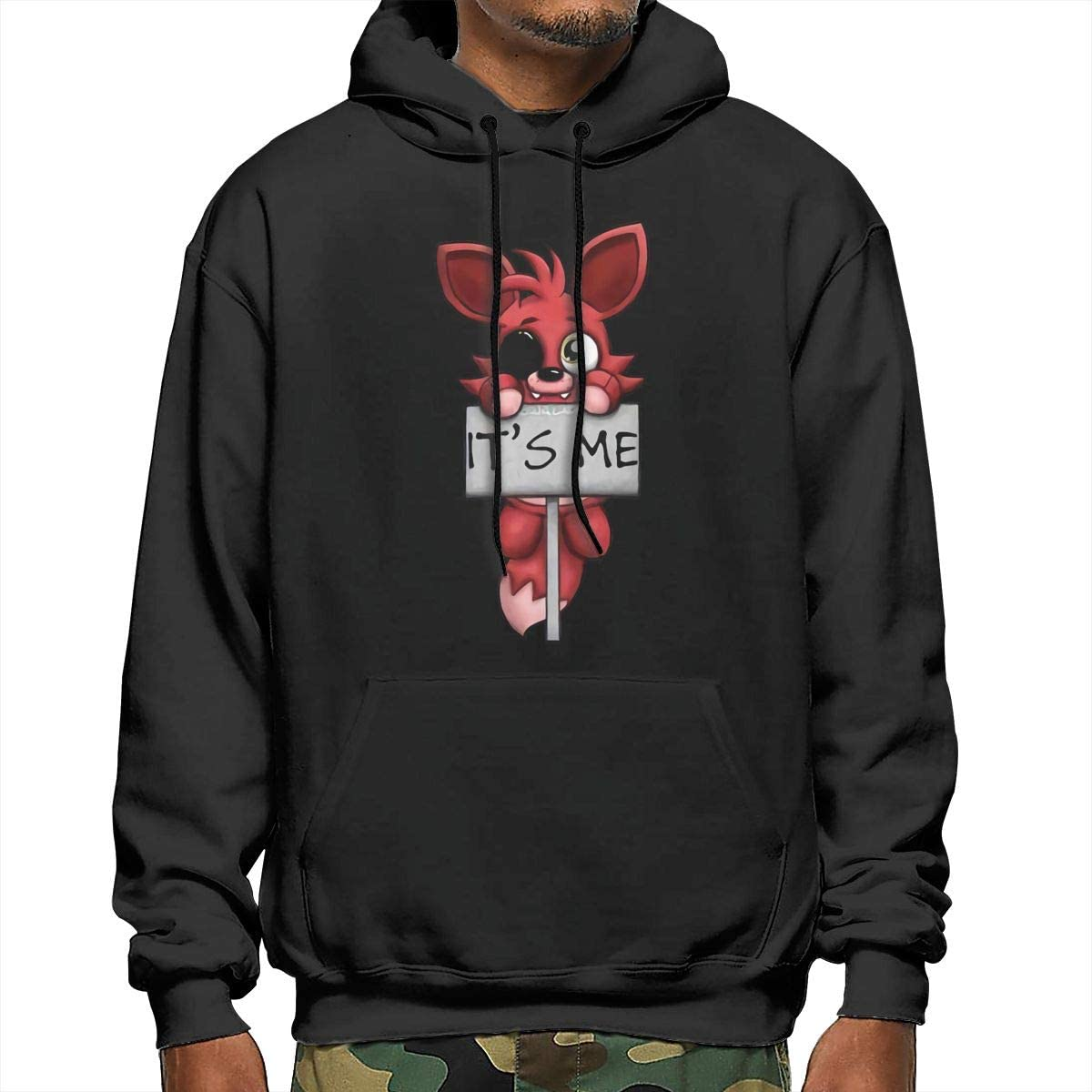 FNAF Plush Foxy Comfort Tee Its Me Logo Mens Hoodie Casual Long Sleeve Pullover Hooded Sweater