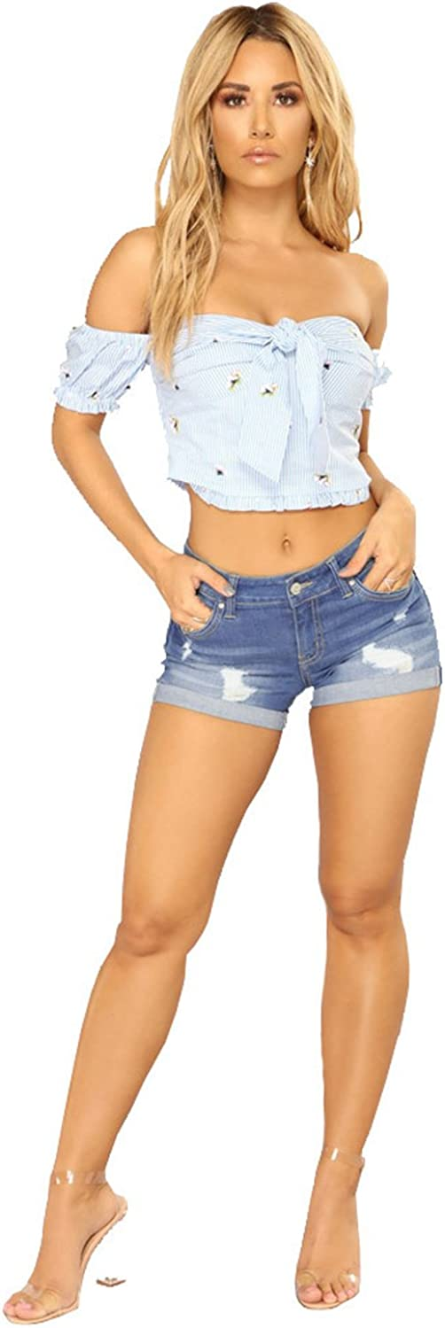 Tengo Womens Juniors Mid-Rise Body Enhancing Stretchy Fabric Ripped Denim Shorts