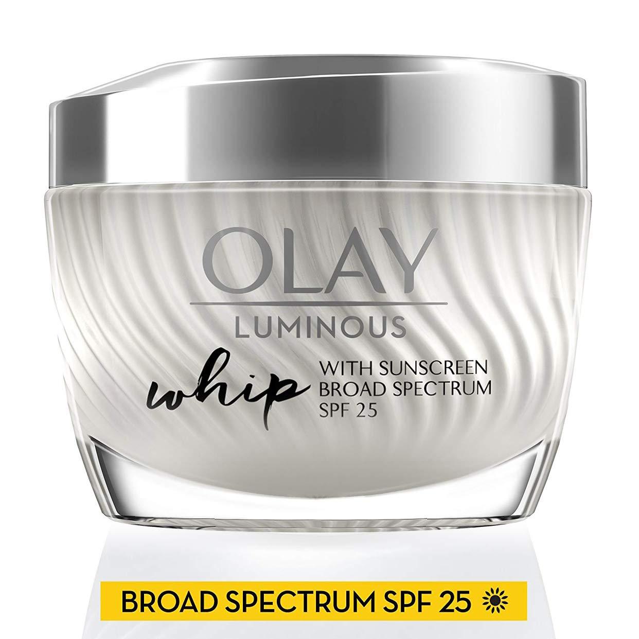 Olay Luminous Whip Light Face Moisturizer SPF 25, Visibly Reduce Dark Spots & Minimize the look of Pores, 1.7 Oz