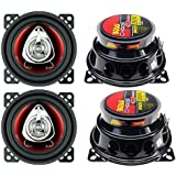 4) New BOSS CH4220 4 2-Way 400W Car Audio Coaxial Speakers Stereo Red 4 Ohm