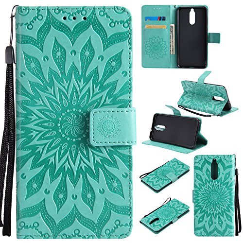 Huawei Mate 10 Lite Case Cover,SMYTU Premium Emboss Sunflower Flip Wallet Shell PU Leather Magnetic Cover Skin with Wrist Strap Case For Huawei Mate 10 Lite(Green) For Sale