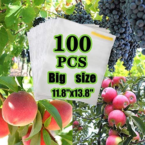 AxPower 100PCS Big Reusable Fabric Fruit Protection Bag Netting Barrier Bags for Grape Pitaya Peach Fruit and Vegetable Against from Insect Birds Pest Bug 11.8 x 13.8 Inch