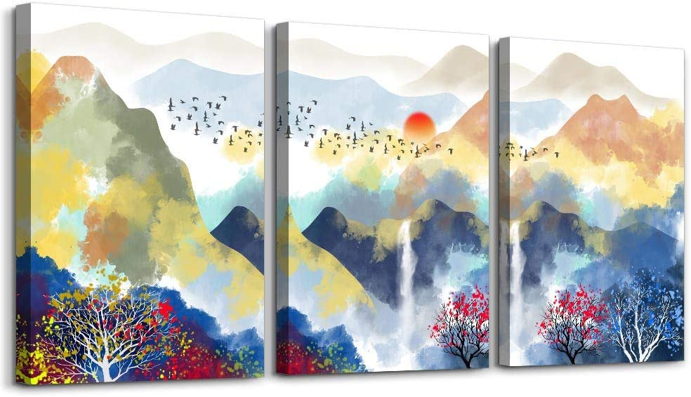 Abstract Mountain Landscape Watercolor painting Canvas Wall Art for bedroom living room Wall Decor for Living Room bathroom Decorations modern scenery Canvas Prints Home Decoration Poster Artwork