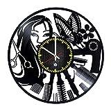 Beauty Salon Decor Vinyl Record (LP) Wall Clock Unique Hairdresser's and Barbershops decor (Style 1) For Sale